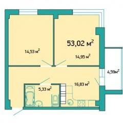 Планировка Двухкомнатная квартира площадью 53.02 кв.м в ЖК «ЖК Салют»