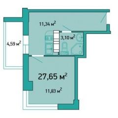 Планировка Однокомнатная квартира площадью 27.65 кв.м в ЖК «ЖК Салют»