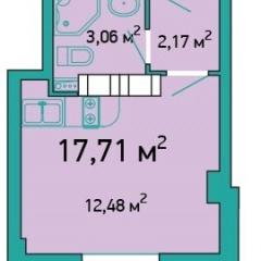 Планировка Студия площадью 17.71 кв.м в ЖК «ЖК Салют»