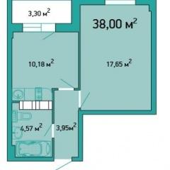 Планировка Однокомнатная квартира площадью 38 кв.м в ЖК «ЖК Салют»