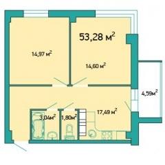 Планировка Двухкомнатная квартира площадью 53.28 кв.м в ЖК «ЖК Салют»