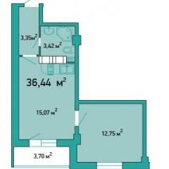 Планировка Однокомнатная квартира площадью 36.44 кв.м в ЖК «ЖК Салют»