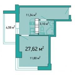 Планировка Однокомнатная квартира площадью 27.62 кв.м в ЖК «ЖК Салют»