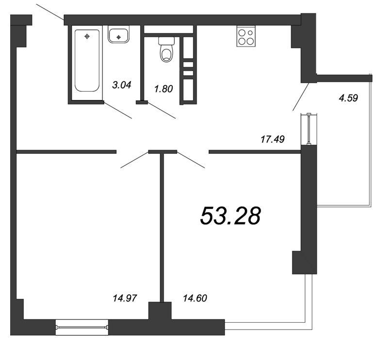 Планировка Двухкомнатная квартира площадью 53.28 кв.м в ЖК «Salut»