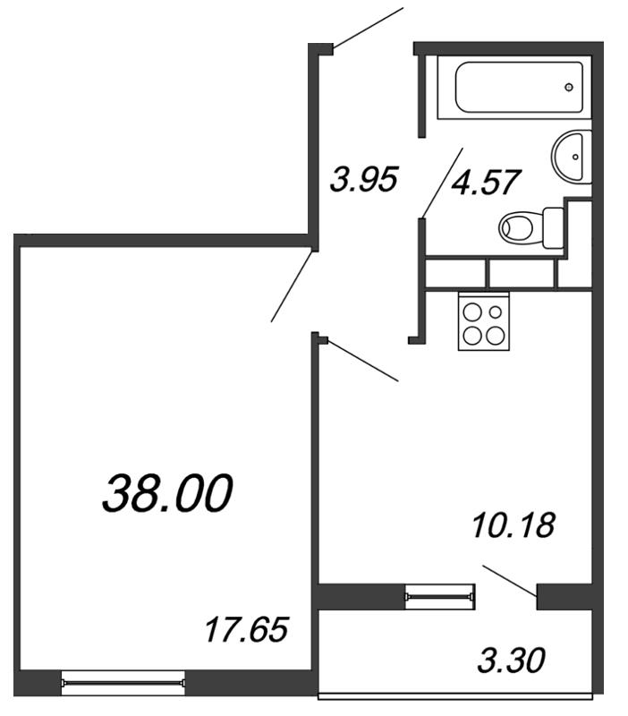 Планировка Однокомнатная квартира площадью 38 кв.м в ЖК «Salut»